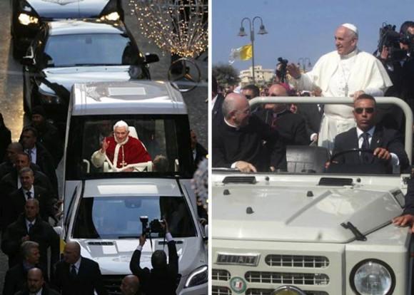 En contraste con su antecesor Joseph Ratzinger, Francisco viaja en camperos Fiat sin ningún blindaje.