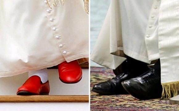 El Papa Francisco conservó sus viejos zapatos y se negó a estrenar los costosos zapatos rojos que manda la tradición papal.