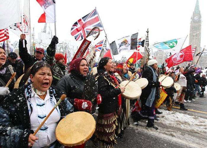 Los indígenas canadienses también salieron a la calle