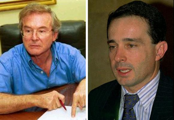Pedro Juan Moreno Villa y Álvaro Uribe Vélez, la dupla que impulso desde la gobernación de Antioquia las cooperativas de seguridad privada Convivir. FOTOS: El Colombiano