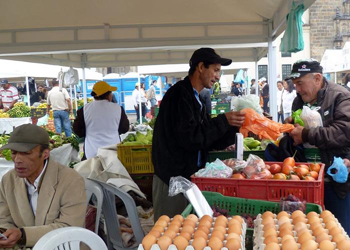 Almojábanas, lechona y tomates orgánicos hechos por manos campesinas