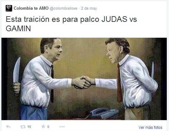 Bulling a Juan Manuel Santos desde la cuenta de  Carlos Escobar