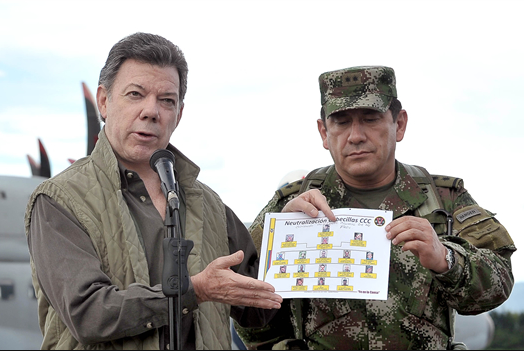 Juan Manuel Santos desde el MinDefensa y la Presidencia ha dado golpes militares importantes a la guerrilla de las Farc.