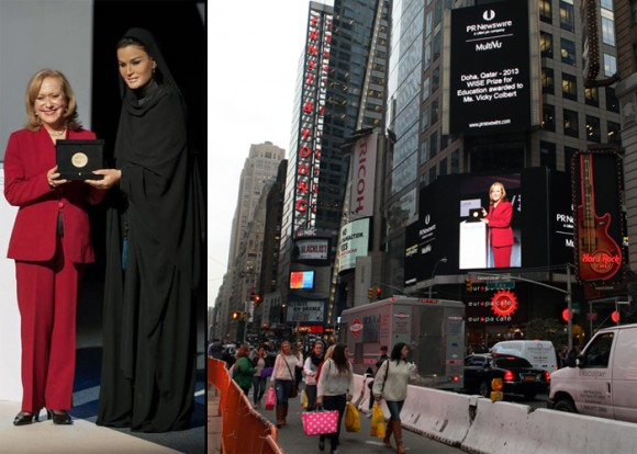 En 2013 recibió el  Premio WISE en Educación por lo que el Times Square de Nueva York le regaló una de sus pantallas