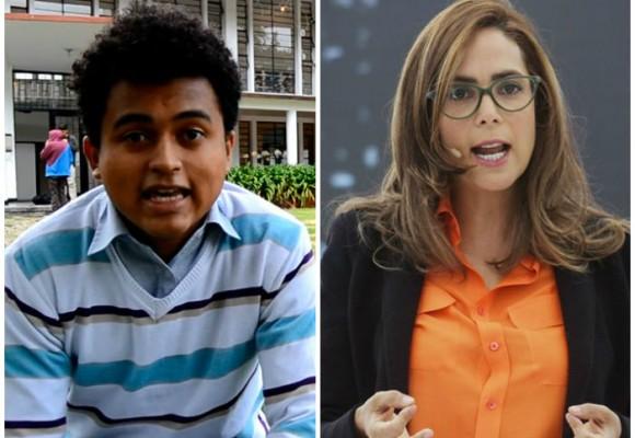 Amaury Núñez y la MANE reciben a Gina Parody con gritos de protesta