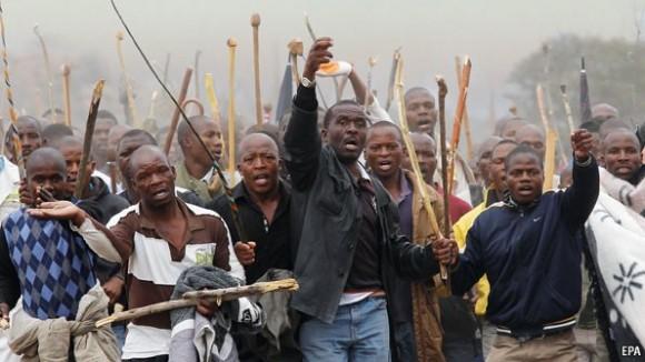 Protestas mineras Sudáfrica. Fuente: EPA