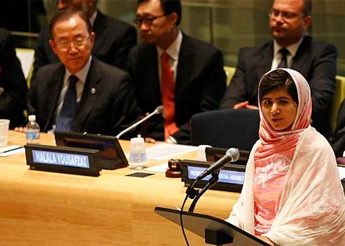 Malala hablando frente a la ONU en 2013