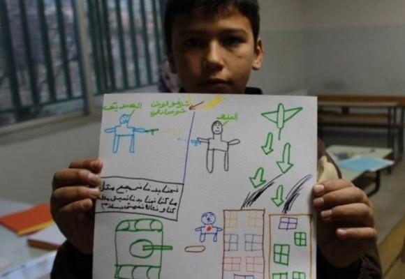Niños sirios dibujan los horrores de la guerra