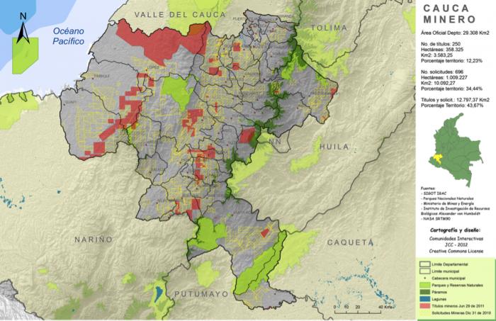 Las concesiones en el norte del Cauca cubren gran parte del territorio.  En Suárez hay 19 títulos mineros otorgados, de esos, 3 son de la Anglo Gold Ashanti, empresa que aspira a 17 de los 94 que han sido solicitados. Información del Catastro Minero Colombiano y  mapa  de www.casadelcauca.org