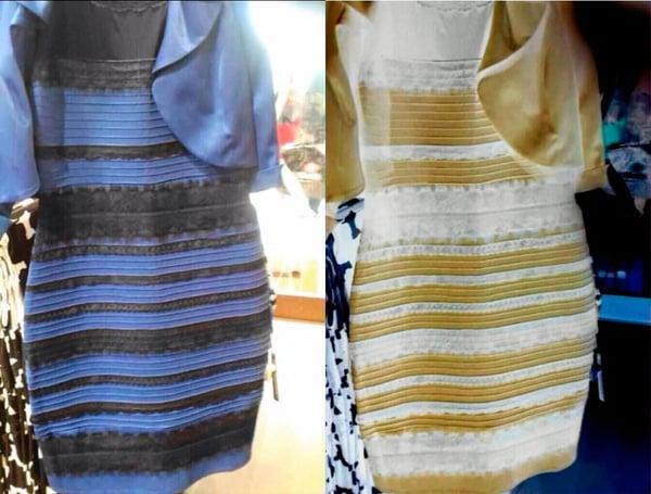 Vestido azul que se ve blanco con dorado