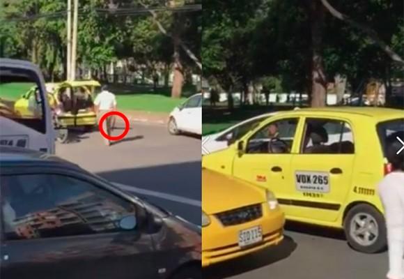 Con machete en mano taxista amenaza a conductor