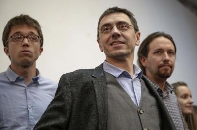 Iglesias (dr.), con Errejón (iz.) y Monedero: los fundadores de Podemos