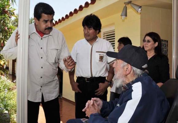 El cumpleaños de Fidel Castro junto a Morales y Maduro