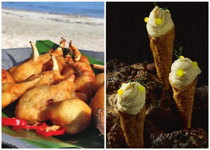 Muelas de Cangrejo Crocante y Salsa de Vino de Tamarindo. A la izquierda, Conos de Pepa de Árbol de Pan y Cangrejo Negro.