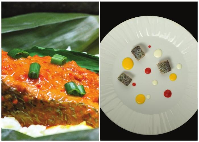 Róbalo Guisado con Sofrito y Leche de Coco. A la izquierda, Bocachico, coco, ahuyama y achiote.