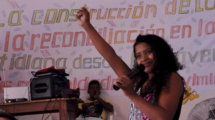 Leandra Navarro en su discurso/Foto: Leider Restrepo