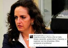 La desafortunada reacción de María Fernanda Cabal en Twitter ante los atentados de París