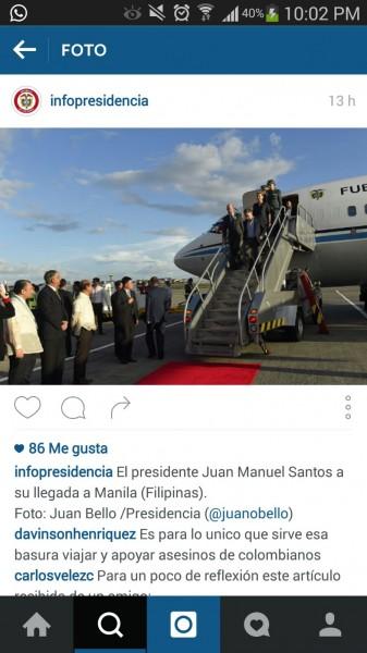 Presidente Santos y primera dama aterrizando en Filipinas en el FAC 001