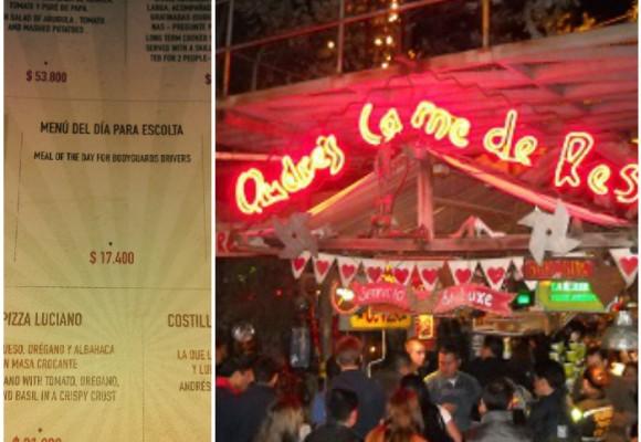 Menú para escoltas en el restaurante Andrés carne de res