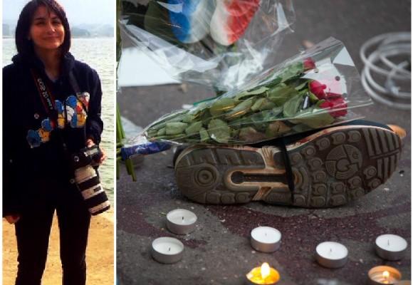 Imágenes de la gente conmovida en los lugares del horror en Paris