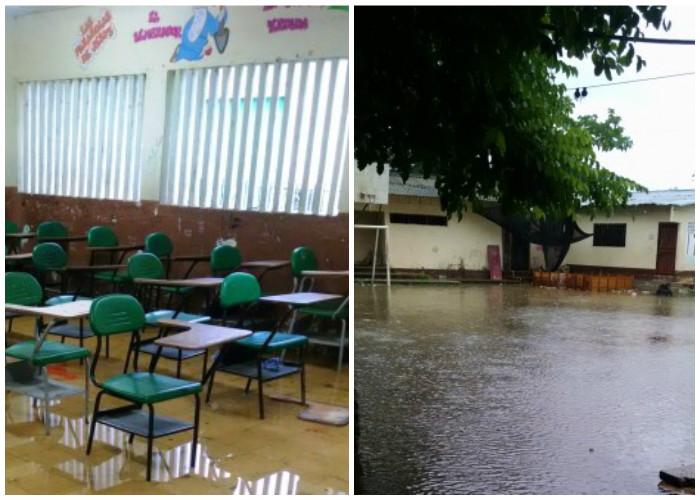 Niños en El Bagre estudian en salones inundados