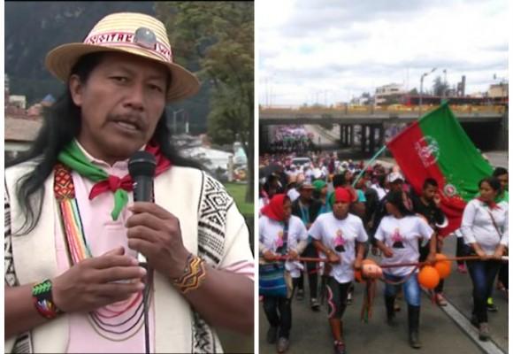 La minga indígena llegó a Bogotá para exigir la liberación de Feliciano Valencia