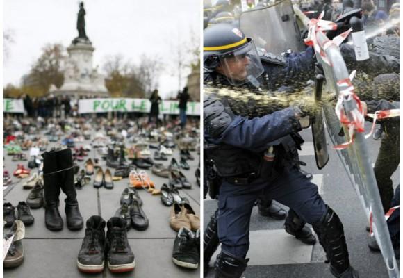 Manifestación por el clima con zapatos en París terminó con gases lacrimógenos