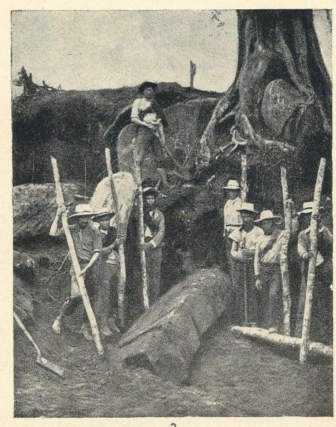 Campesinos que trabajaron en la excavación