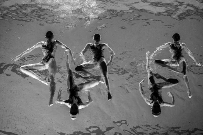 Fotografía ganadora del tercer premio individual de la categoría de deportes, tomada por el fotógrafo sueco Jonas Lindkvist del Dagens Nyheter. La fotografía muestra al equipo de natación sincronizada Neptun Synchro durante una exhibición realizada en Estocolmo (Suecia) el 13 de diciembre de 2015. JONAS LINDKVIST/ WORLD PRESS PH (EFE)