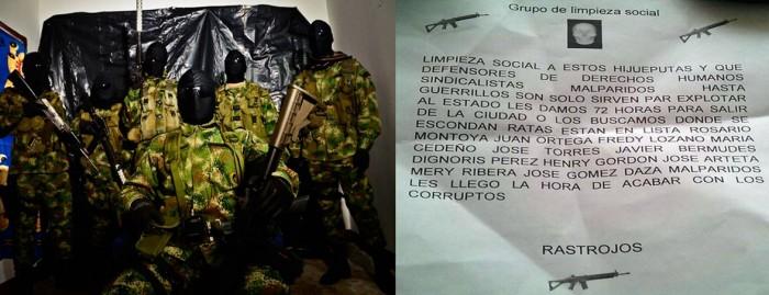 (Izquierda: Foto bacrim Medellín. Fuente: www.pacifista.co Derecha: Panfleto amenaza líderes de derechos Humanos en Barranquilla, Febrero de 2016, Fuente: Fundación Paz y Reconciliación)