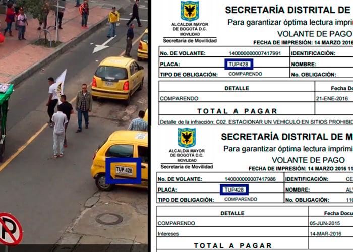Las multas que deben los taxistas que bloquean Bogotá