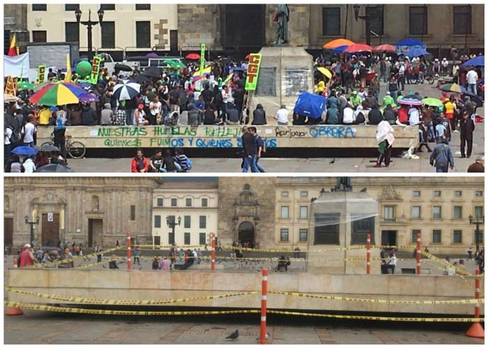 Los mamertos creen que hacer la revolución es pintarretear la Plaza de Bolívar