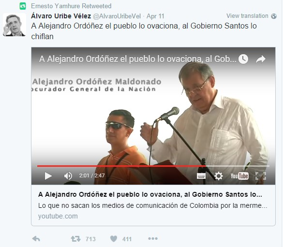 Uribe respalda a Ordónez