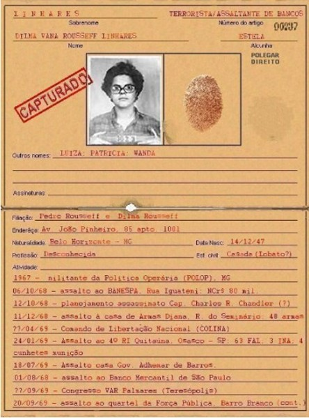 Esta presunta orden de captura circula desde hace varios años en internet y condena a Dilma por cometer seis asaltos y un intento de homicidio, cuando era militante de la POLOP entre 1967 y 1970. Sin embargo, su veracidad no ha sido confirmada