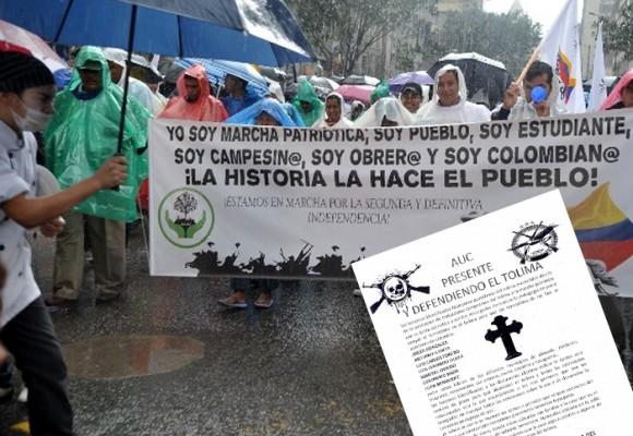 Paramilitares amenazan miembros de Marcha Patriótica en el Tolima