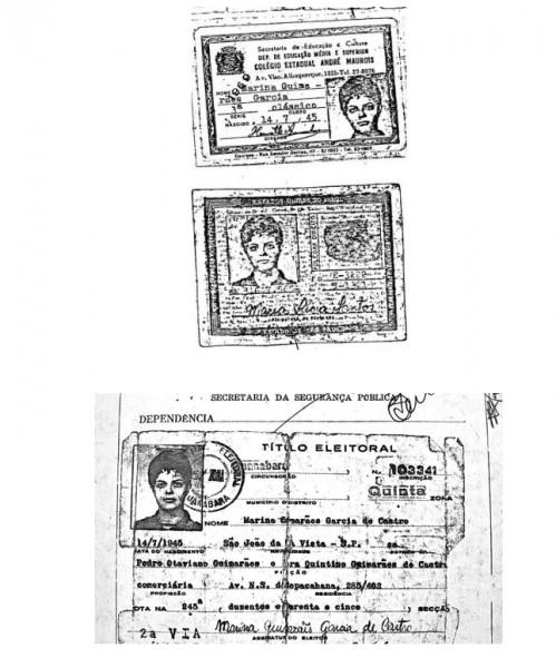 Uno de sus alias fue Maria Guimarães Garcia, como lo señalan estos dos documentos falsos.