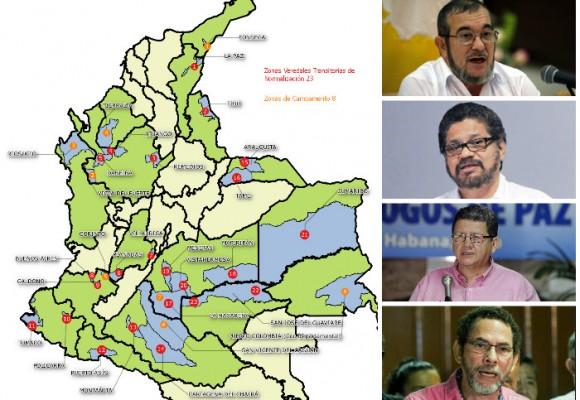 Los 23 municipios donde se concentrarán las FARC