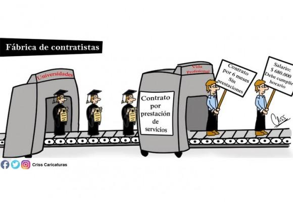 Caricatura: Fábrica de contratistas