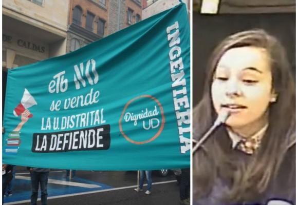 'Estudiantes de la U. Distrital están en contra de la privatización de la ETB'