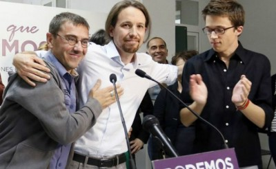 Monedero (iz), Iglesias, Errejón (dr.): fundadores de Podemos