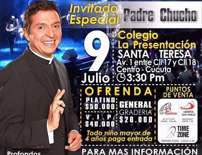 Una boleta Platino para ver al padre Chucho vale 50 mil pesos