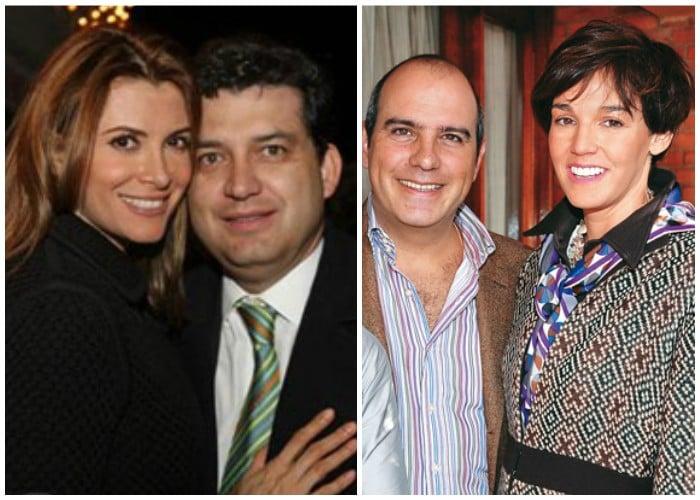 Las dos parejas Juan Carlos Ortíz y Viena Ruíz, y Tomas Jaramillo y Mariluz Ruano eran anfitriones de ampulosas fiestas sociales. Fotos: archivo Revista JetSet