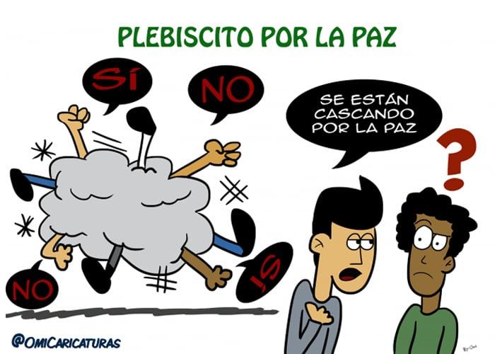 Caricatura: discutiendo por el Sí y el No