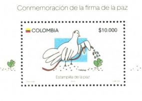 Estampilla de 10 mil pesos para conmemorar la firma de la paz