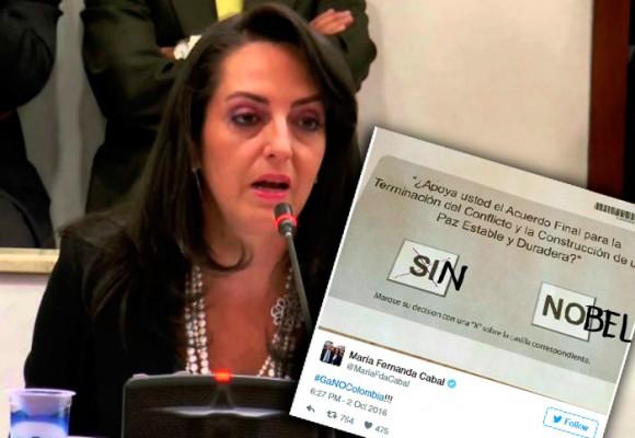El día que María Fernanda Cabal se burló de Santos porque no tendría el Nobel