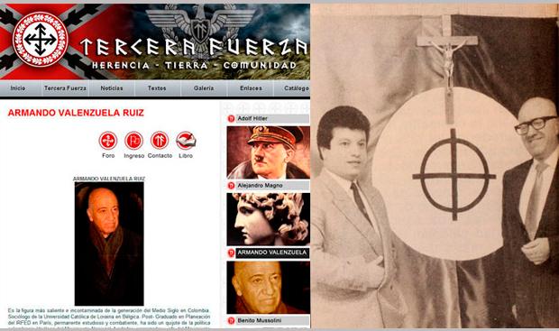 A la izquierda: página de Internet de Tercera Fuerza en la que se referencia a Valenzuela como un símbolo, dentro de la organización. A la derecha: Fernando Vargas y Valenzuela, posando junto a la bandera de Morena, en 1989.