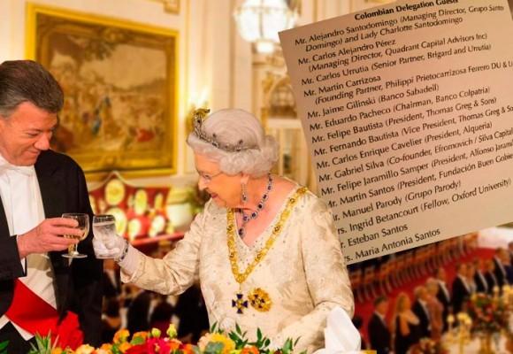 Los invitados de Santos y la reina al banquete del Palacio de Buckingham