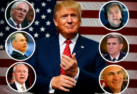 Donald Trump y su gabinete de empresarios millonarios