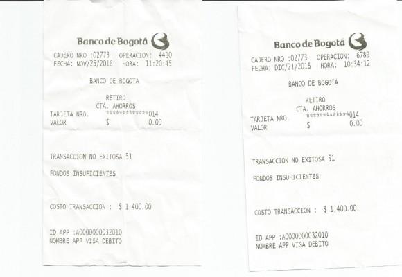 Banco de Bogotá cobra $1500 por cada transacción no exitosa