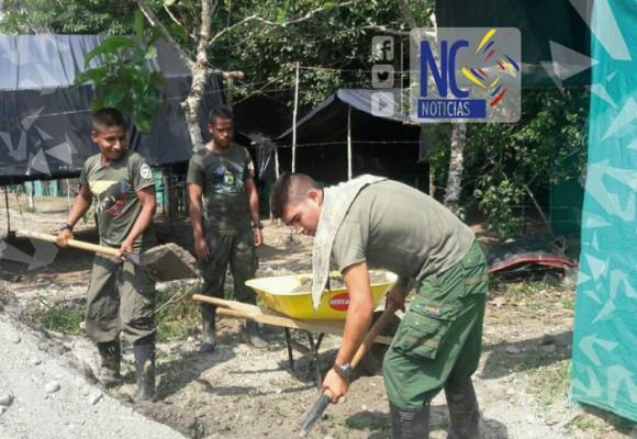 Farc ayudan a construir su zona veredal en Putumayo